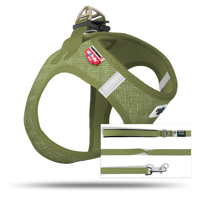Set Vest Harness Air-Mesh SE19 + Basic leash  Linen-Olive