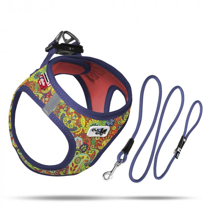 Set Vest Harness Air-Mesh SE21 + Stretch Comfort leash  Blue-Floral