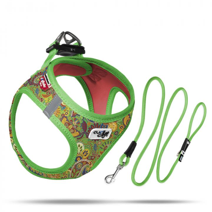Set Vest Harness Air-Mesh SE21 + Stretch Comfort leash  Green-Floral
