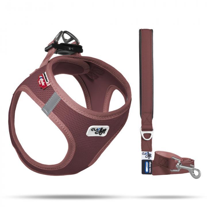 Set Vest Harness Air-Mesh SE20 + Basic leash  Marsala