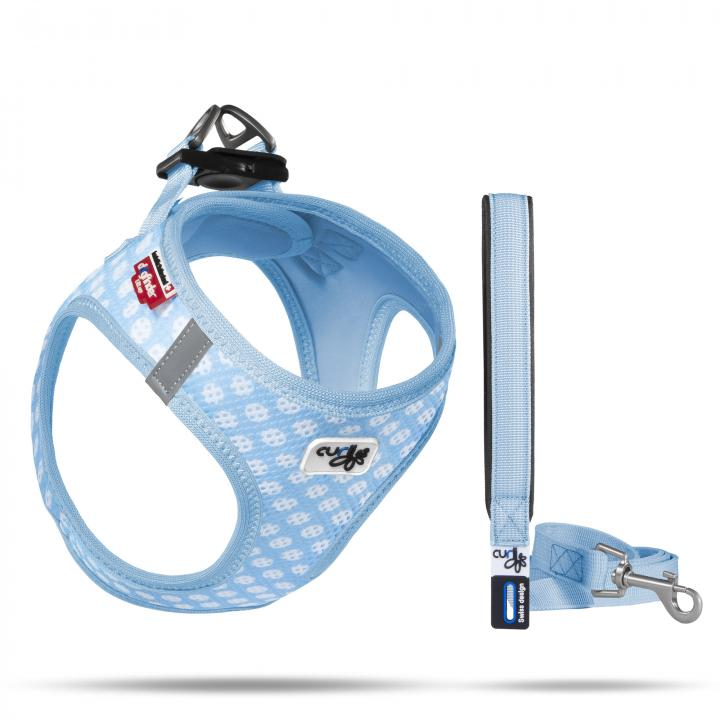 Vest Harness Air-Mesh & Leash Skyblue-Circles